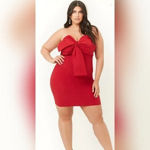 Plus Size Bow-Front Strapless Dress
